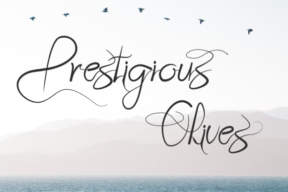 Print on Demand: Prestigious Olives Script & Handwritten Font By Tigade std