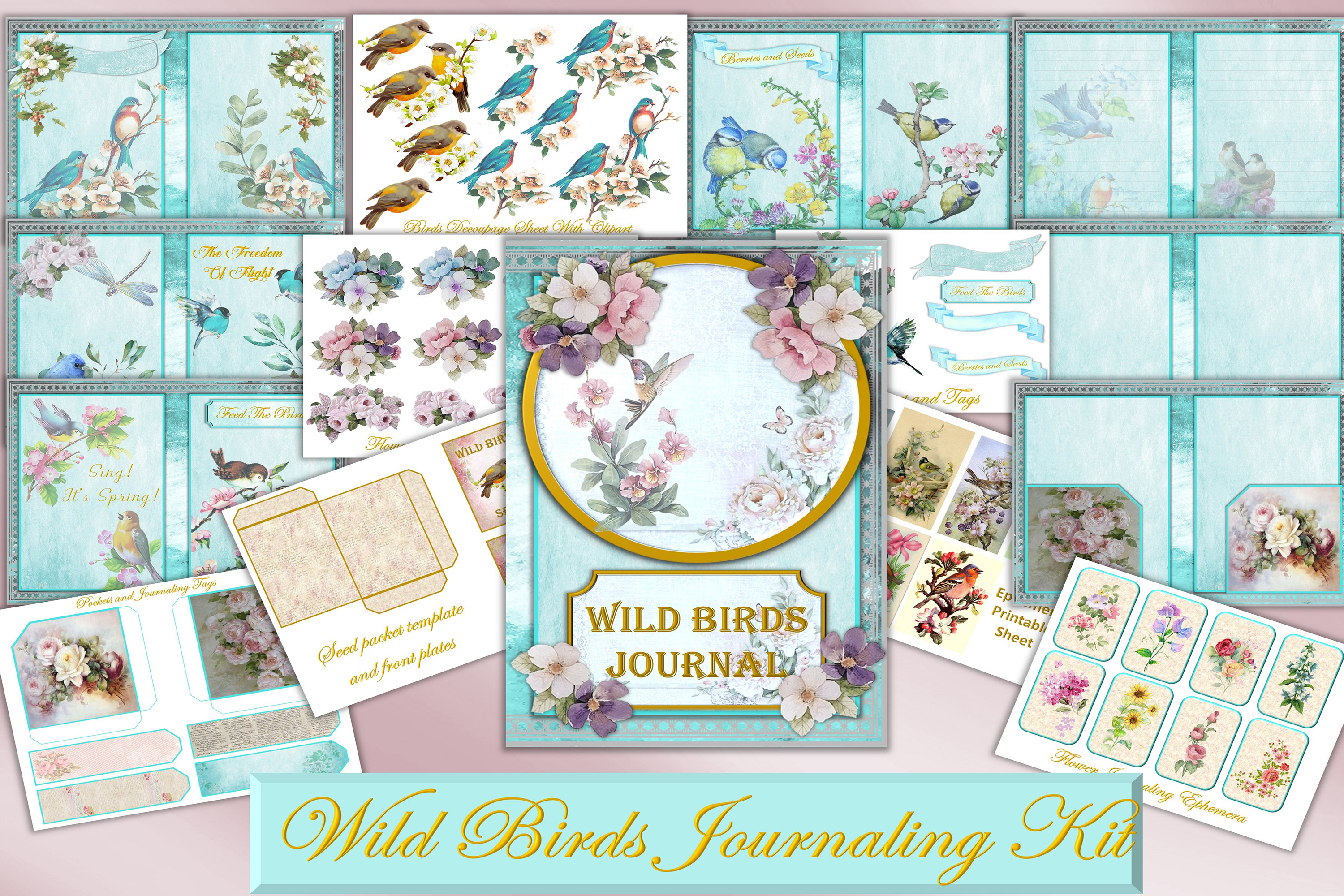 Download Free Printable Journal Kit Wild Birds Graphic By The Paper Princess for Cricut Explore, Silhouette and other cutting machines.
