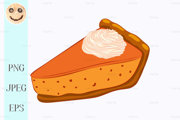 Print on Demand: Pumpkin Pie with Whipped Cream Isolated Graphic Illustrations By TasiPas