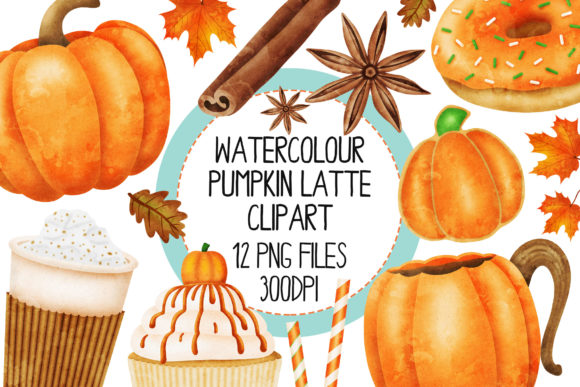 Pumpkin Spice Set 1 Graphic Illustrations By The_Laughing_Sloth_Digital