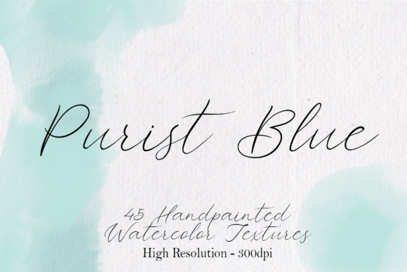 Print on Demand: Purist Blue - 45 Watercolor Textures Graphic Textures By lovalu
