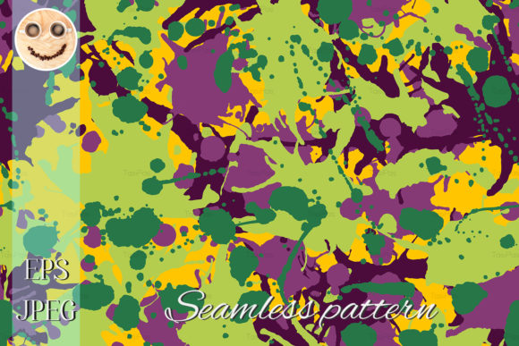 Purple Green Yellow Camo Seamless Patter Graphic By TasiPas