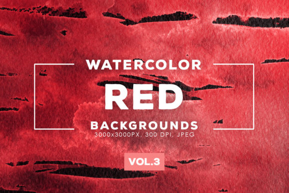 Print on Demand: Red Watercolor Backgrounds 3 Graphic Backgrounds By ArtistMef