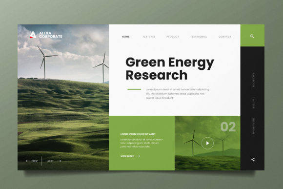 Renewable Energy Web Header PSD and AI Graphic UX and UI Kits By alexacrib83