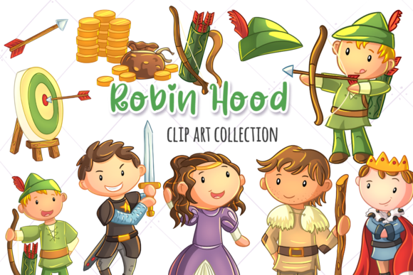 Print on Demand: Robin Hood Story Book Clip Art Grafik Illustrationen von Keepinitkawaiidesign