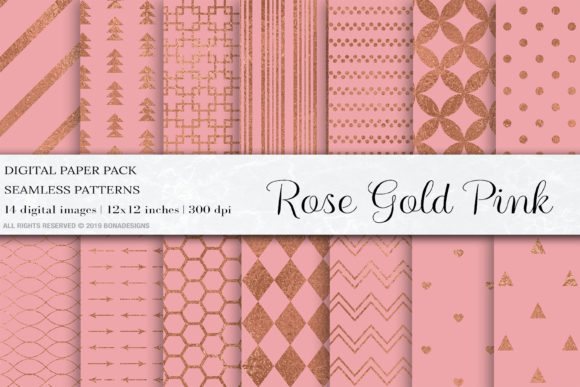 Rose Gold Pink Seamless Patterns Graphic Patterns By BonaDesigns