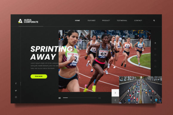 Running Event Web Header PSD and AI Graphic UX and UI Kits By alexacrib83