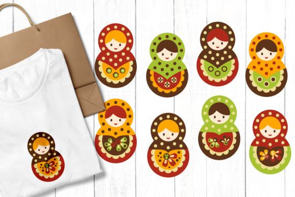 Download Free Russian Dolls Babushka Graphic By Revidevi Creative Fabrica for Cricut Explore, Silhouette and other cutting machines.