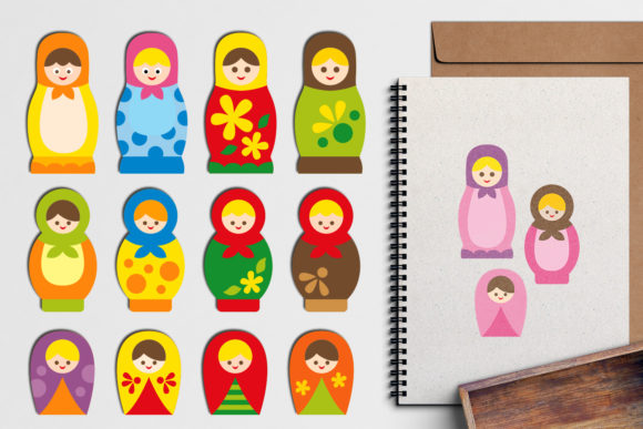 Print on Demand: Russian Dolls Matryoshka Graphic Illustrations By Revidevi