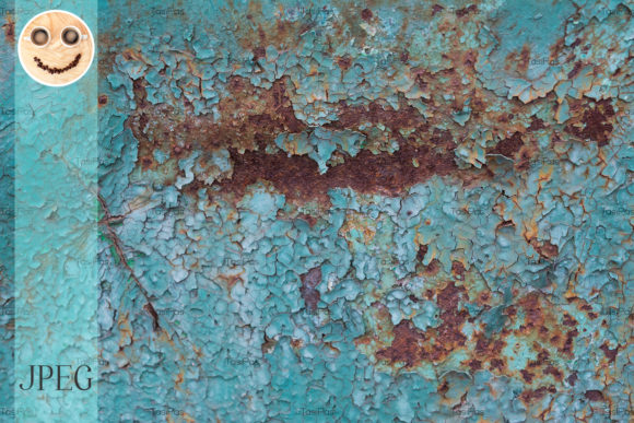 Print on Demand: Rusted Metal Texture with Blue Paint Graphic Industrial By TasiPas