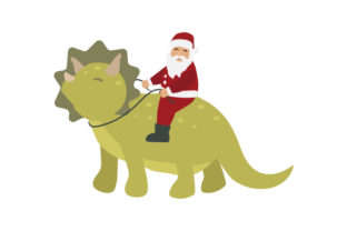 Santa Riding a Dinosaur Christmas Craft Cut File By Creative Fabrica Crafts