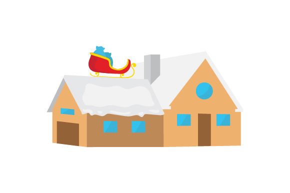 Download Free Santa S Sleigh On Roof Of House Svg Cut File By Creative Fabrica for Cricut Explore, Silhouette and other cutting machines.