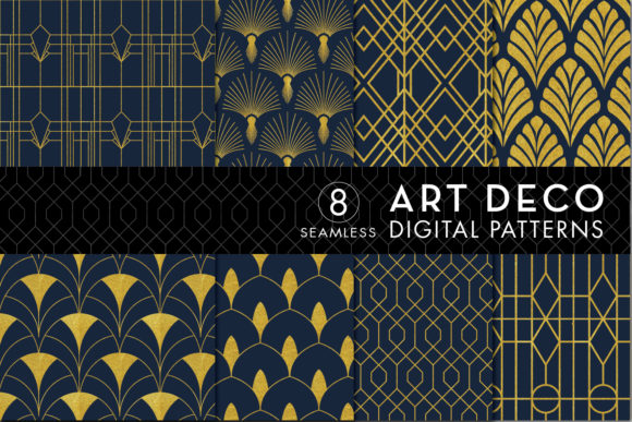 Print on Demand: Seamless Art Deco Patterns - Gold & Navy Graphic Patterns By Eyestigmatic Design