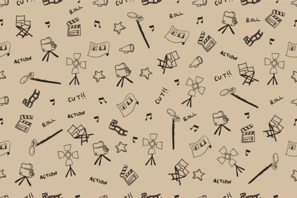 Download Free Seamless Pattern Of Handdrawn Cinema Graphic By Superzizie for Cricut Explore, Silhouette and other cutting machines.