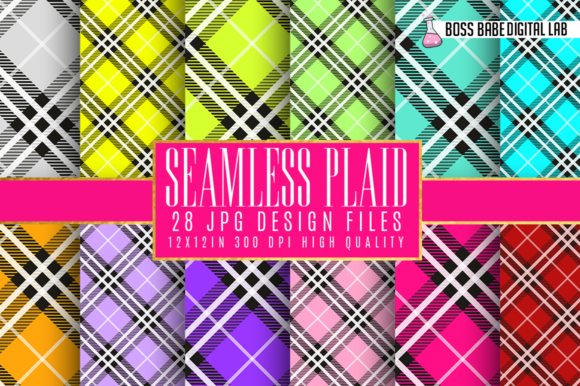 Print on Demand: Seamless Plaid Digital Paper Graphic Textures By bossbabedigitallab