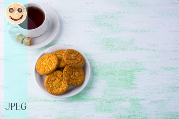 Print on Demand: Sesame Biscuits and Cup of Tea Graphic Food & Drinks By TasiPas