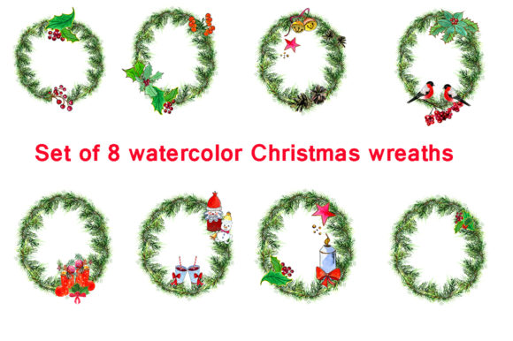 Download Free Set Christmas Wreaths Graphic By Kakva Creative Fabrica for Cricut Explore, Silhouette and other cutting machines.