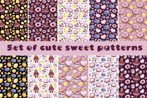 Set of Cute Sweet Patterns Graphic Patterns By Mari_artchef