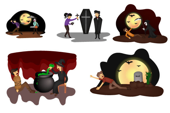 Print on Demand: Set of Flat Characters for Halloween Graphic Illustrations By iop_micro