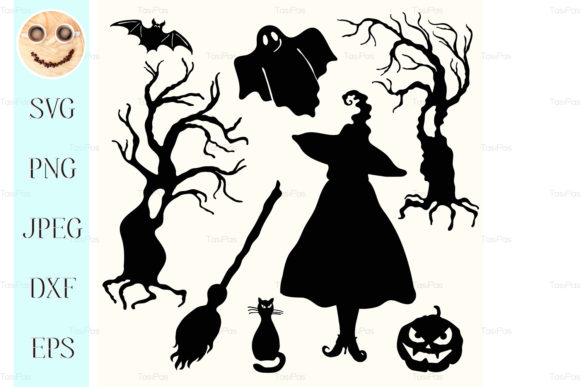Print on Demand: Silhouette Witch Gráfico Ilustraciones Por TasiPas