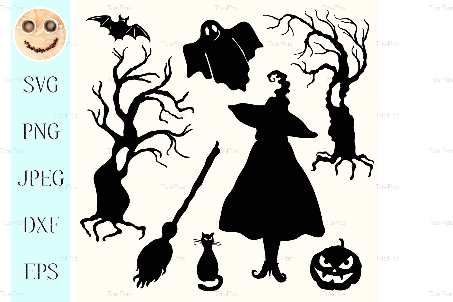 Download Free Silhouette Witch Graphic By Tasipas Creative Fabrica for Cricut Explore, Silhouette and other cutting machines.