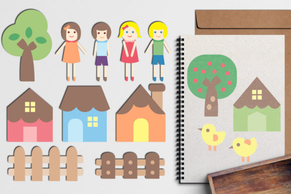 Print on Demand: Simple Houses and Kids Graphic Illustrations By Revidevi - Image 1