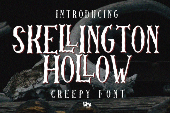 Skellington Hollow Display Font By dmletter31