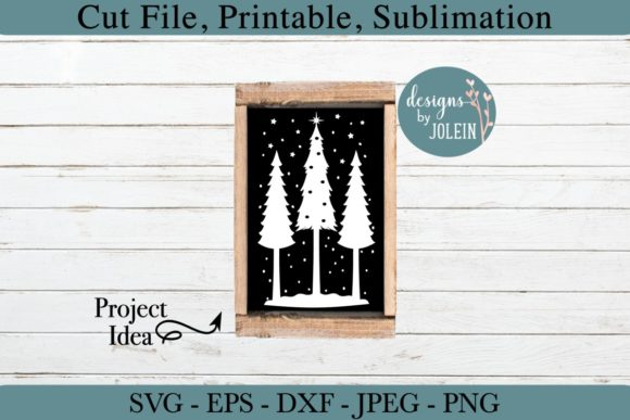 Download Free Snowy Christmas Trees Graphic By Designs By Jolein Creative for Cricut Explore, Silhouette and other cutting machines.