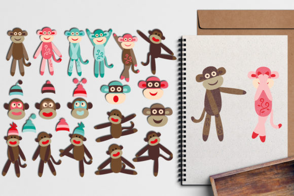 Print on Demand: Sock Monkey Graphic Illustrations By Revidevi - Image 1