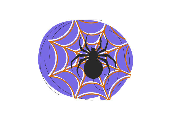 Spider Trapped in Web Abstract Print Style Halloween Craft Cut File By Creative Fabrica Crafts