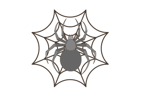 Spider Trapped in Web Vintage Art Style Halloween Craft Cut File By Creative Fabrica Crafts
