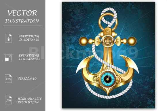 Steampunk Anchor with Clock Graphic Illustrations By Blackmoon9