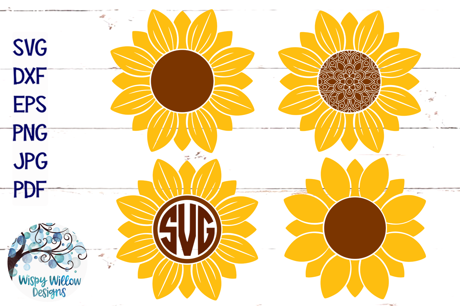Download Free Sunflower Bundle Graphic By Wispywillowdesigns Creative Fabrica for Cricut Explore, Silhouette and other cutting machines.