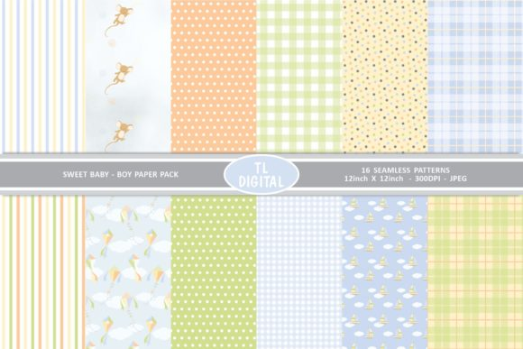 Download Free Sweet Baby Boy Paper Pack 12 Patterns Graphic By Tl Digital for Cricut Explore, Silhouette and other cutting machines.
