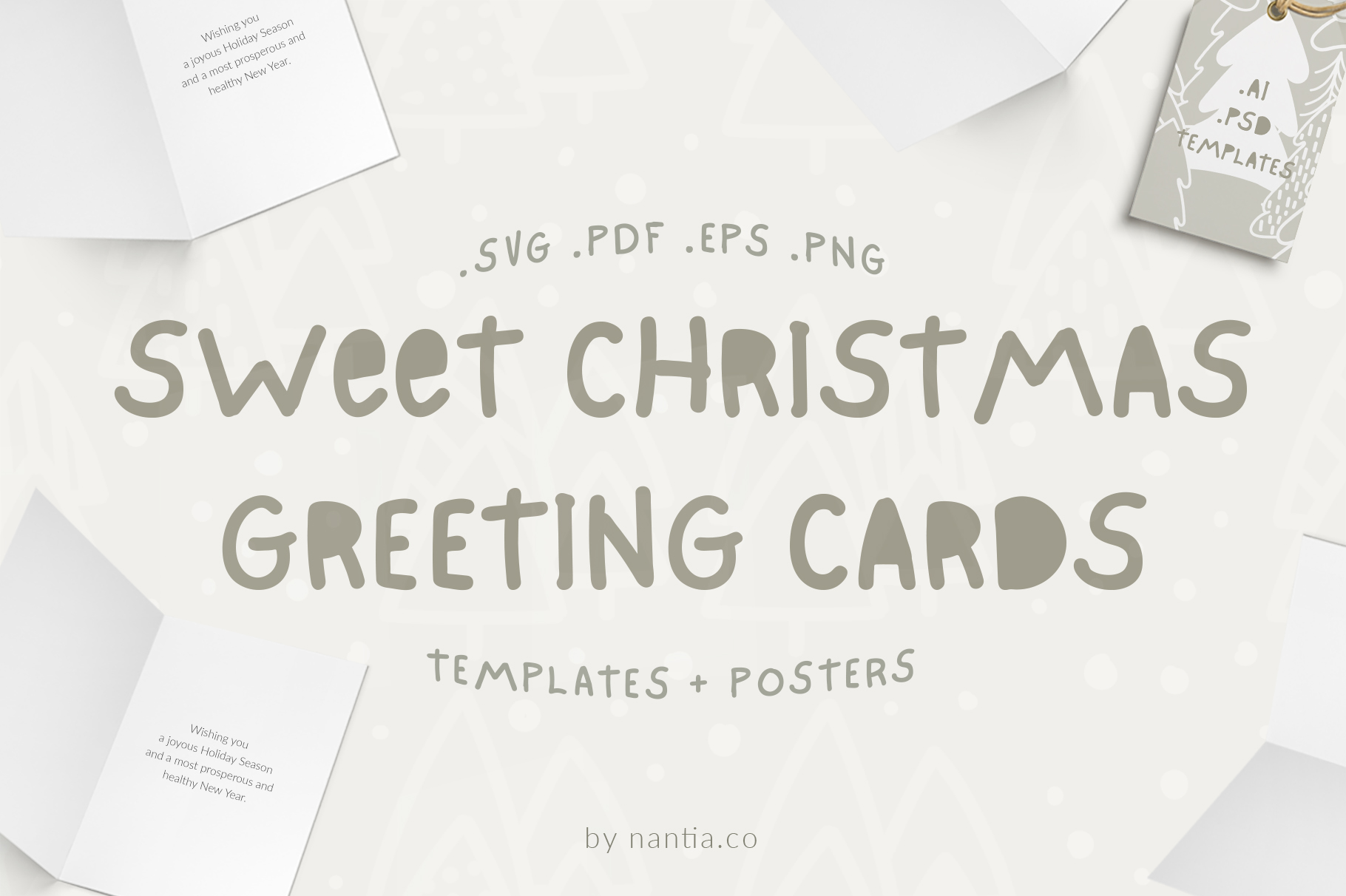 Download Free Sweet Christmas Cards Posters Graphic By Nantia Creative Fabrica for Cricut Explore, Silhouette and other cutting machines.
