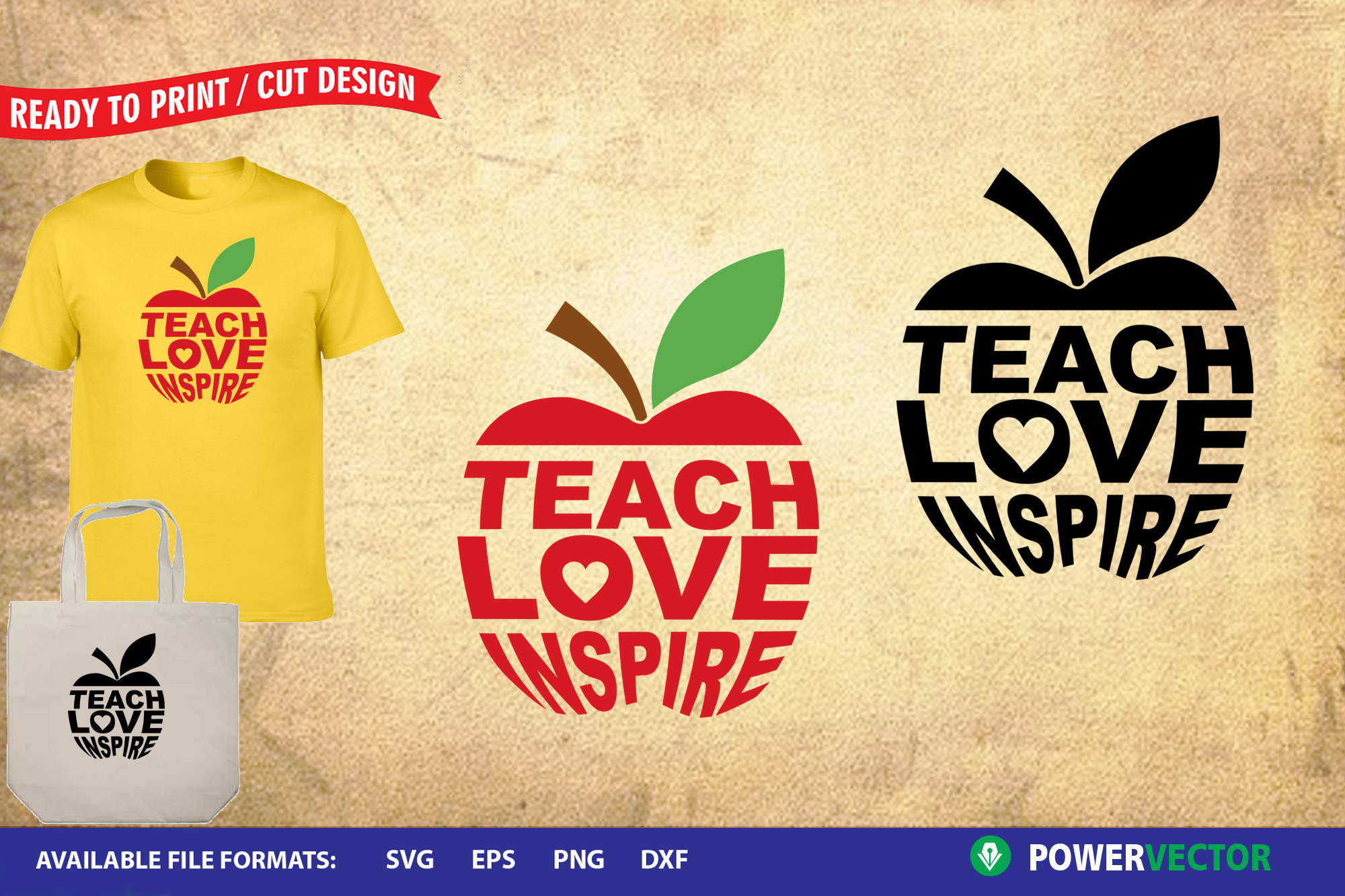 Download Free Teach Love Inspire Graphic By Powervector Creative Fabrica for Cricut Explore, Silhouette and other cutting machines.