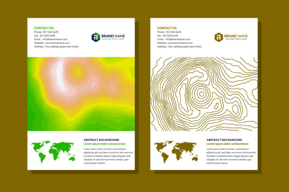 Print on Demand: Topographic Map Cover Line Gold and Pape Graphic Print Templates By noory.shopper