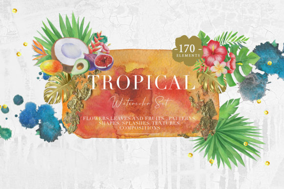 Tropical Watercolor Set Graphic Backgrounds By NassyArt