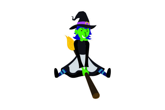 Ugly Witch Flying on Broomstick Halloween Craft Cut File By Creative Fabrica Crafts