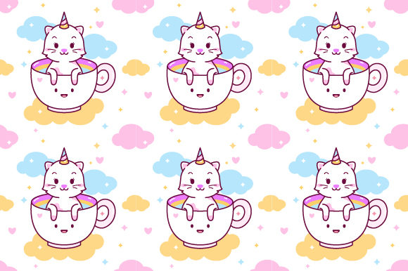 Unicorn Cat in Cup Seamless Pattern Graphic Patterns By yellowline