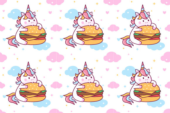 Unicorn Eating Burger Seamless Pattern Graphic Patterns By yellowline - Image 1