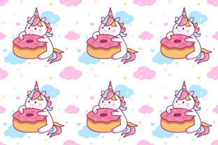 Download Free Unicorn Eating Donut Seamless Pattern Graphic By Yellowline for Cricut Explore, Silhouette and other cutting machines.