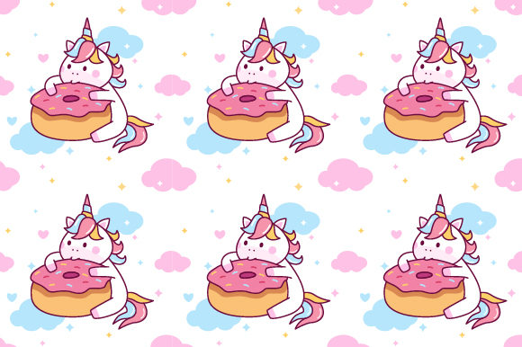 Unicorn Eating Donut Seamless Pattern Graphic Patterns By yellowline - Image 1