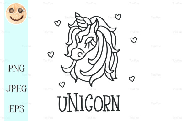 Unicorn Head and Hearts Sketch Icon Graphic By TasiPas