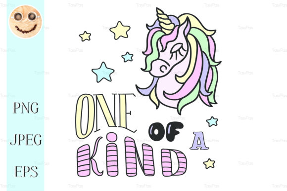 Download Free Unicorn Head And One Of A Kind Lettering Graphic By Tasipas for Cricut Explore, Silhouette and other cutting machines.