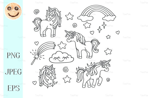 Download Free Unicorn Rainbow Magic Wand Sketch Set Graphic By Tasipas SVG Cut Files