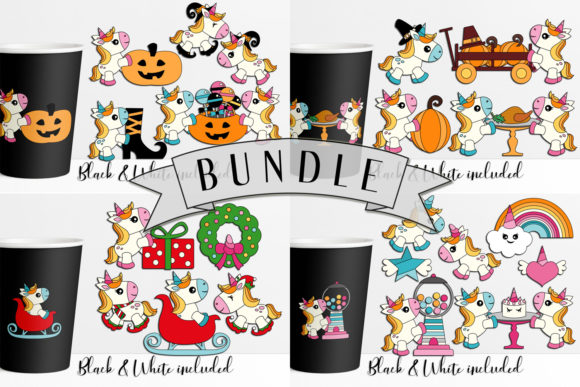 Print on Demand: Unicorn Holidays Bundle Graphic Illustrations By DarraKadisha