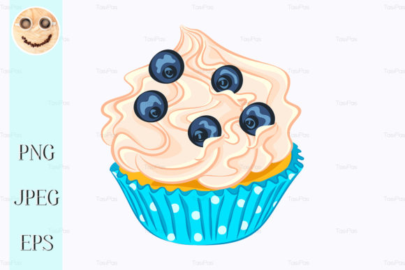 Print on Demand: Vanilla Cupcake with Cream and Blueberry Graphic Illustrations By TasiPas