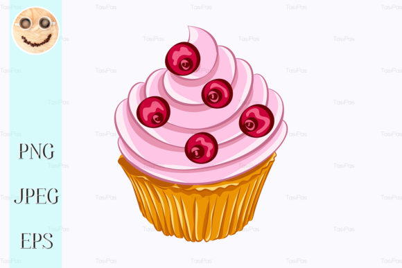 Print on Demand: Vanilla Cupcake with Red Berry Graphic Illustrations By TasiPas