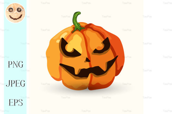 Print on Demand: Vector Halloween Spooky Face Pumpkin Graphic Illustrations By TasiPas